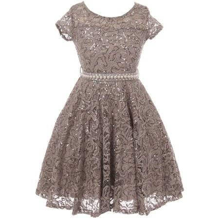 Little Girls Short Sleeve Lace Glitter Skater Pearl Belt Special Occasion Flower Girl Dress Charcoal 2 (J21KS02) (Charcoal Flower Girl Dresses)
