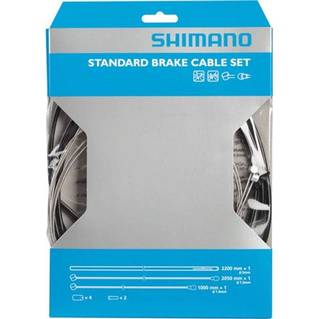 Universal Standard Brake Cable Set, For MTB or Road Bikes, Universal Set: Fits either mountain bikes or road bikes By SHIMANO Bike Brake Cable Set