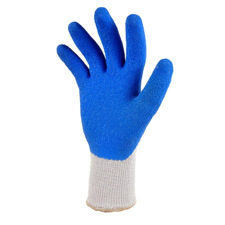 G & F 1630 Heavy Duty Rubber Latex Coated Work Gloves for Construction, Blue, Men\\\