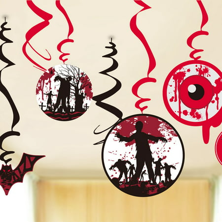 Zombie Zone Hanging Swirls Halloween Party Decorations-14 Piece Set, Red and Black
