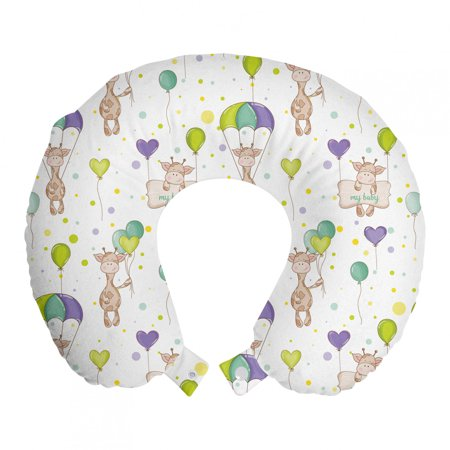 """Baby Travel Pillow Neck Rest, Infant Giraffes Flying with Balloons with Polka Dotted Background Newborn Love Hearts, Memory Foam Traveling Accessory Airplane and Car, 12"""", Multicolor, by Ambesonne"""