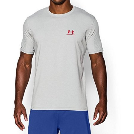 under armour men's charged cotton sportstyle t-shirt, true gray heather/red, medium
