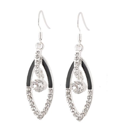 Pair Silver Tone Metal Hollow Leaf Shape Dangle Ear Hook Earring (Metal Earring Hooks)