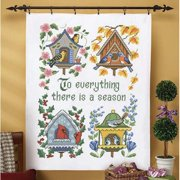 Herrschners To Everything There is Season Lap Quilt Stamped Cross-Stitch Kit
