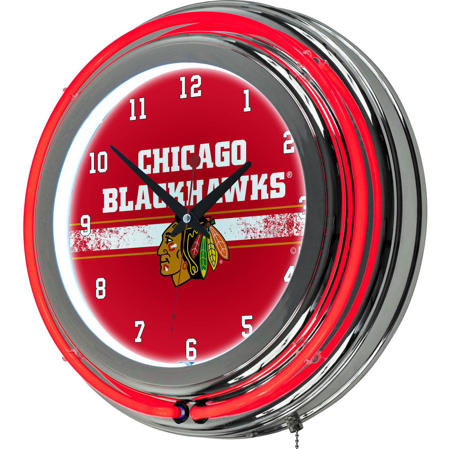 NHL Chrome Double Rung Neon Clock, Chicago Blackhawks