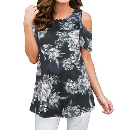 - 711ONELINESTORE Women Floral Print Short Sleeve Cold Shoulder Tunic Top