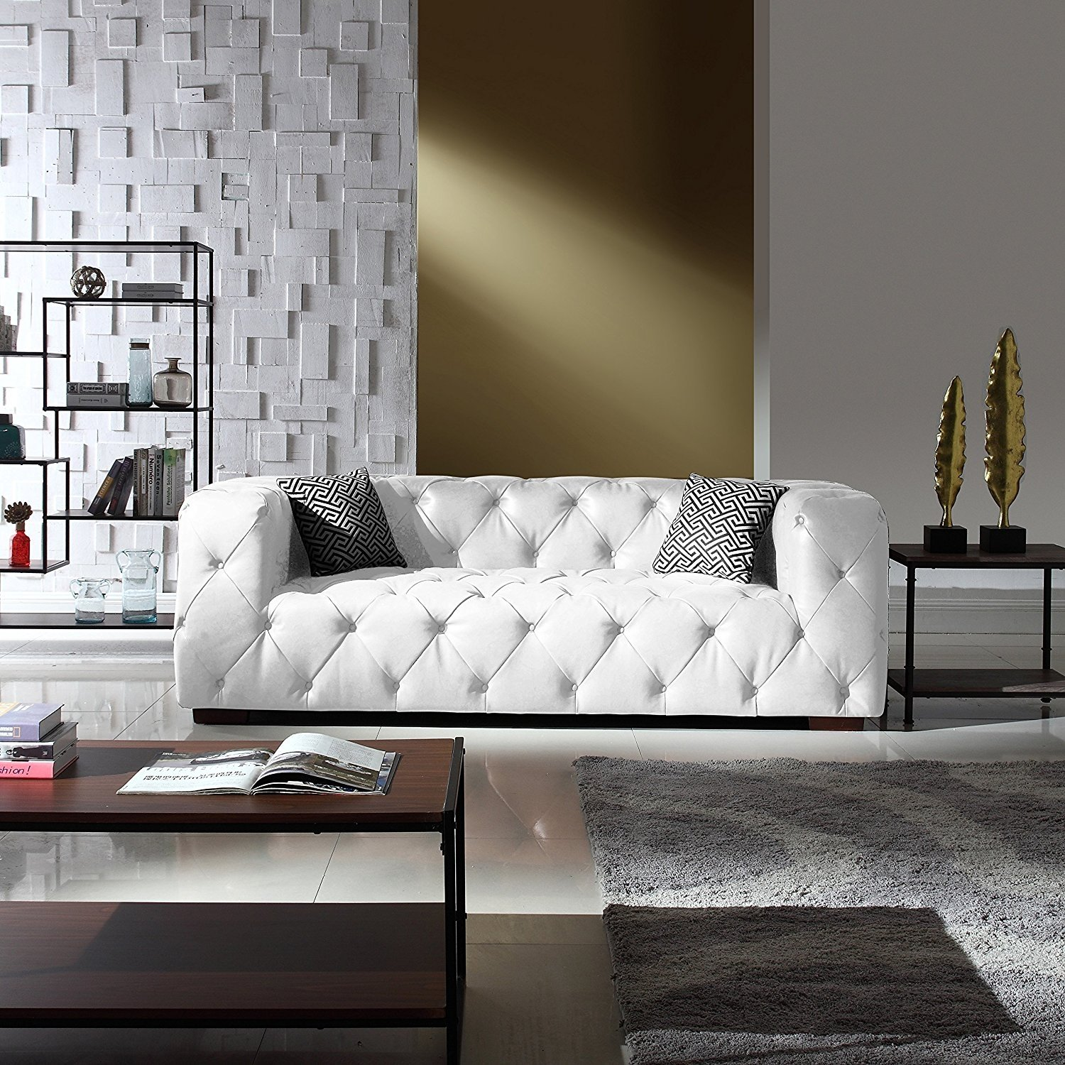 Large Tufted Real Leather Chesterfield Sofa Classic Living Room