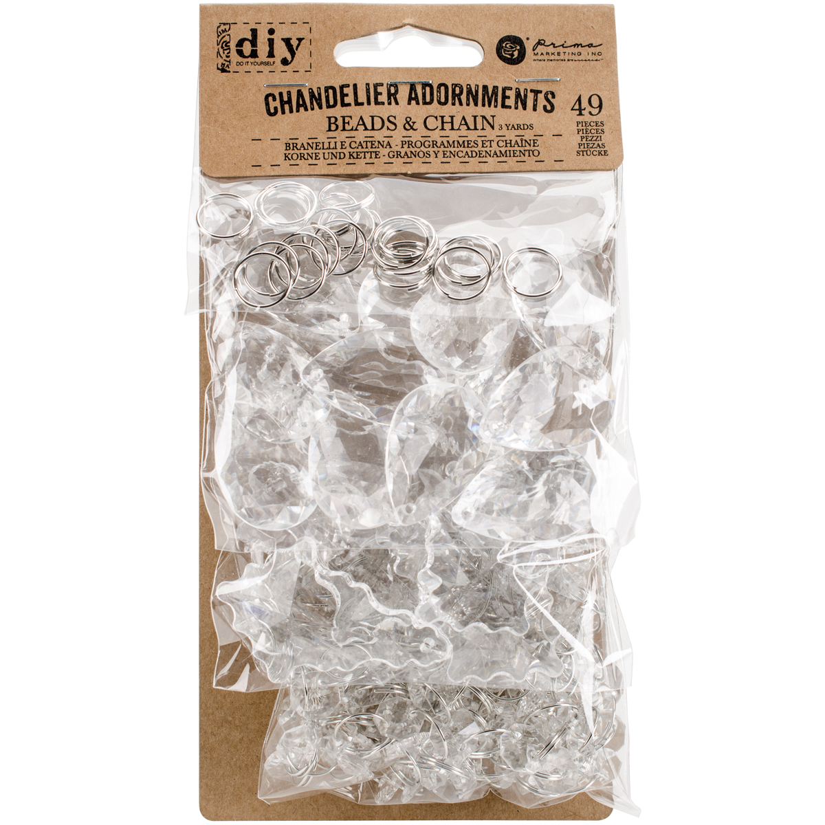 Prima Marketing DIY Chandelier Adornments, 49pk, Crystal Drops and Chain