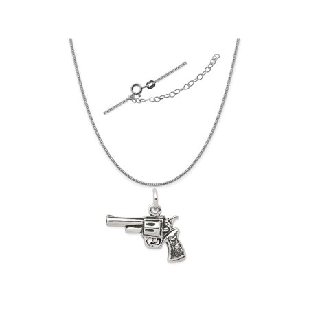 Sterling Silver Antiqued Pistol Charm on a 0.90mm Box Chain Necklace, 18