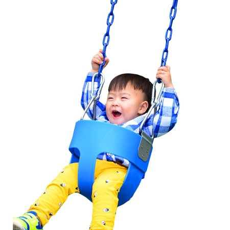 Full Bucket Swing (High Full Bucket Swing With Coated Chain,Toddler Swing Set Swing Seat Outdoor Kids)