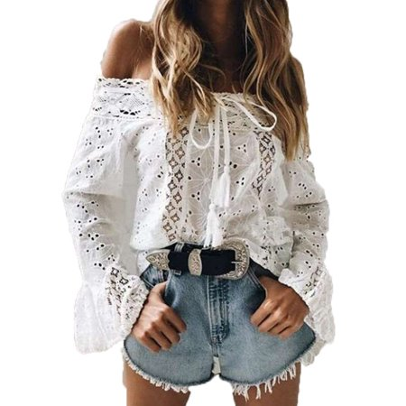 Women Lace Stitching Blouses Sexy Hollow Out Off Shoulder Long Flare Sleeve T Shirts White Tops