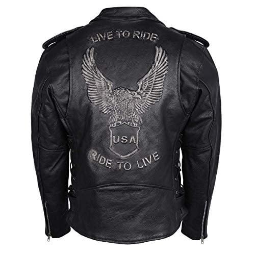 Mens Black Leather Waistcoat Motorcycle Biker Vest Eagle Embose