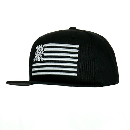 38c5c91f5da Leader 3D Embroidered USA Flag Flatbrim Adjustable Snapback Outdoor Sports  Baseball Golf Cap Polo Style Unisex Dad Hat Sun Shade Visor Black White ...