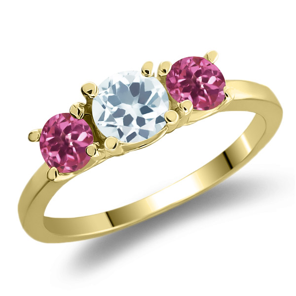 0.93 Ct Round Sky Blue Aquamarine Pink Tourmaline 18K Yellow Gold 3-Stone Ring by