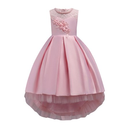 Funcee Formal Girl Flower Embroideried Lace Trailing Princess Dress Sleeveless for Bridesmaid Party Wedding Pageant](Princess Dress For Girl)