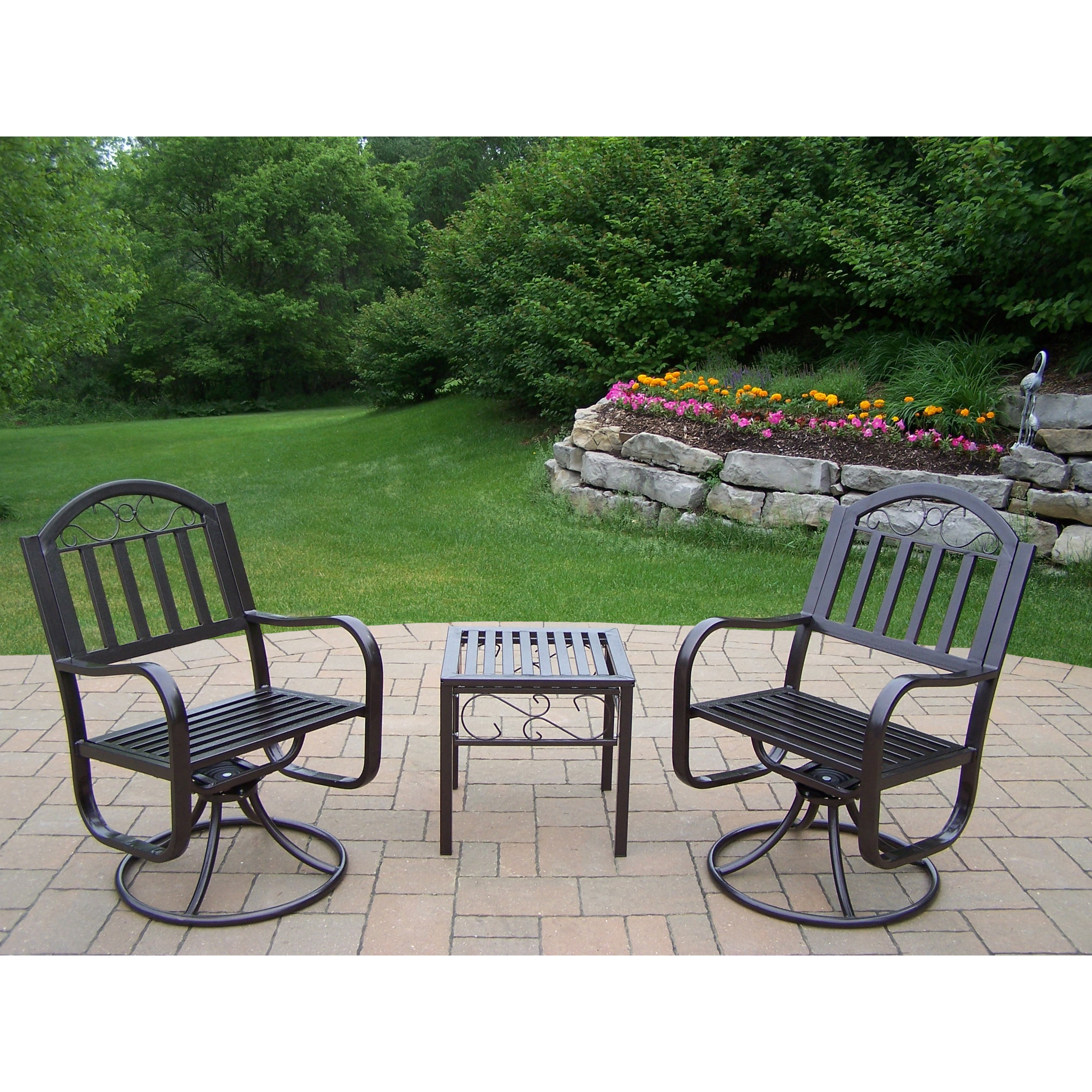 Oakland Living Corporation Hometown Set with 2 Swivel Cha...