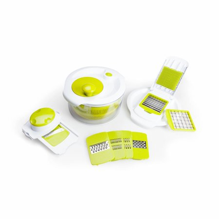Salad Spinner with Mandolin Slicer, Chopper, and Grater Lid