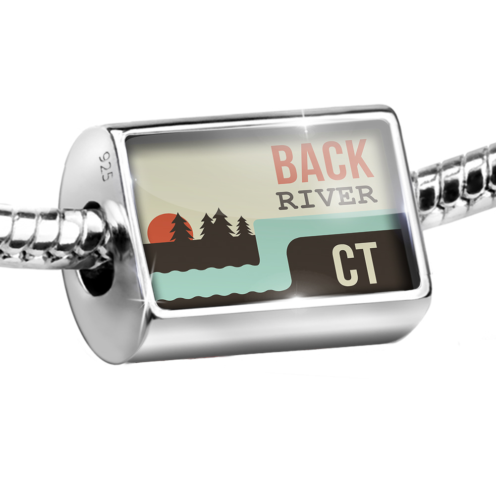 Sterling Silver Bead USA Rivers Back River - Connecticut Charm Fits All European Bracelets