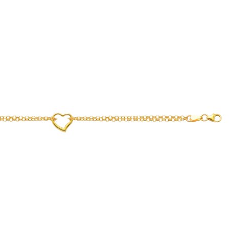 10K Yellow Gold Shiny Double Rolo Chain Anklet 10