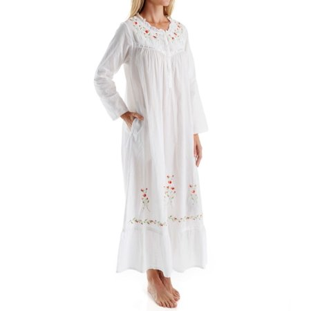 Women's La Cera 1181A 100% Cotton Woven Long Sleeve Long Gown