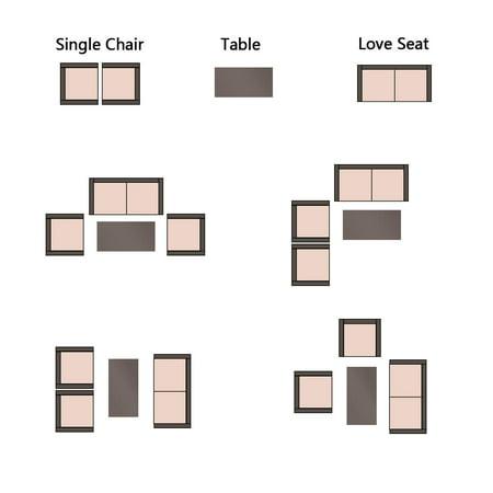 Walnew 4 Pieces Outdoor Patio Furniture Sets Rattan Chair Wicker Conversation Sofa Set, Outdoor Indoor Backyard Porch Garden Poolside Balcony Use Furniture, Beige