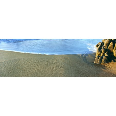 Sand patterns and surf on the beach Lands End Baja California Mexico Canvas Art - Panoramic Images (36 x (Sn 33 Mexican Sand)