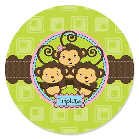 Triplet Monkeys 2 Boys & 1 Girl - Party Circle Sticker Labels - 24 Count