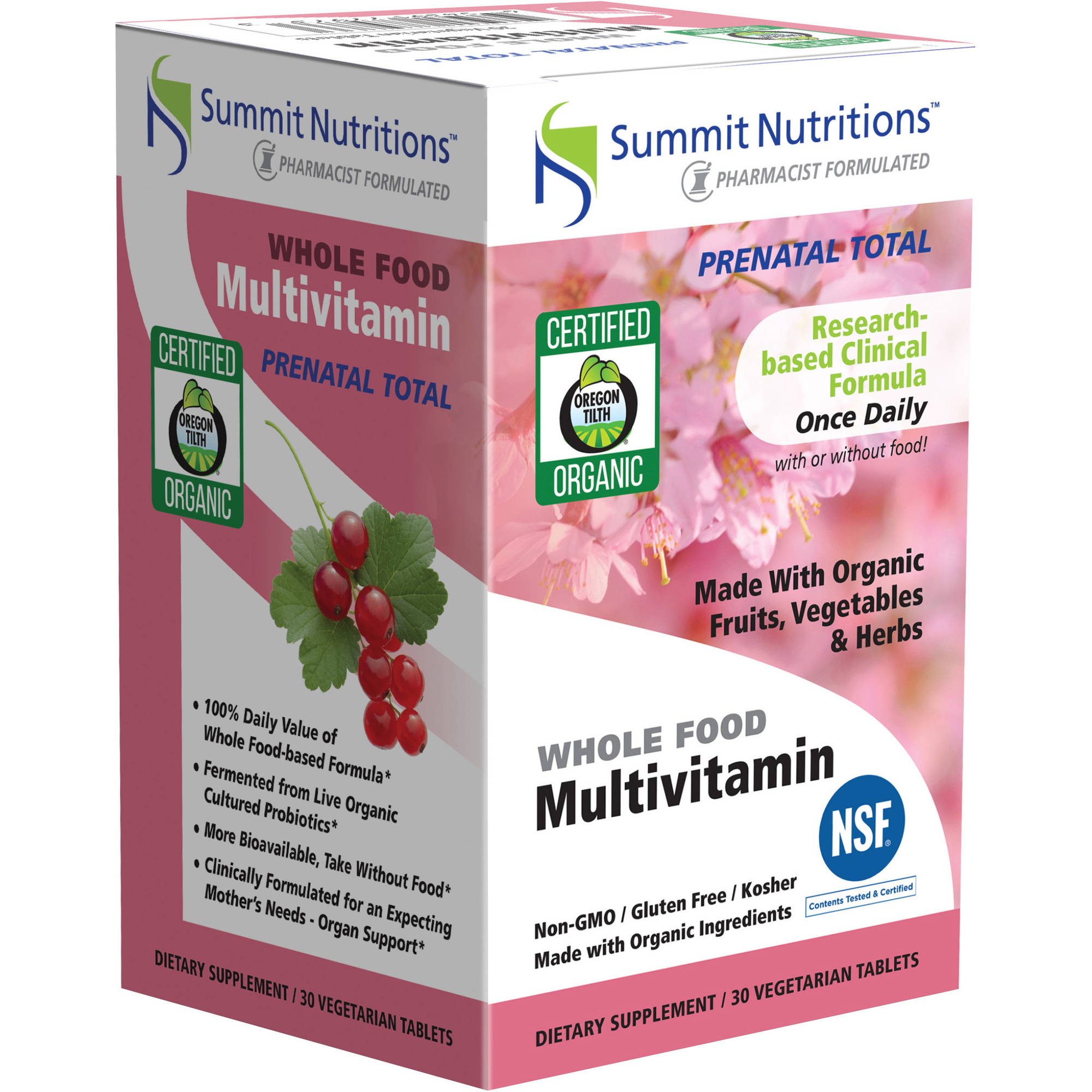 Summit Nutritions Prenatal Total Whole Food Multivitamin Dietary Supplement Vegetarian Tablets, 30 count