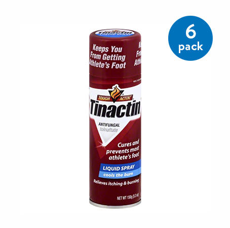 (6 Pack) Tinactin Athlete's Foot Antifungal Treatment Liquid Spray, 5.3 oz Can