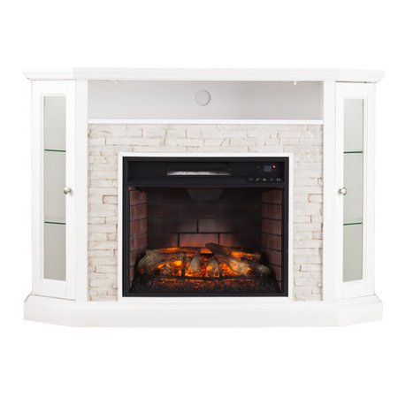 Wildon Home Rupert Faux Stone Corner Convertible Infrared