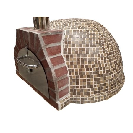 Pizza Oven Outdoor Tan Brown Mosaic Tiles, Wood Coal Fired BBQ Grill Roast, Stone Brick Clay Cement New
