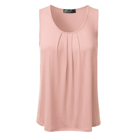 Doublju Women's Basic Soft Pleated Scoop Neck Sleeveless Loose Fit Tank Top BABYPINK S
