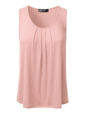 689a44697d9 Product Image Doublju Women s Basic Soft Pleated Scoop Neck Sleeveless  Loose Fit Tank Top BABYPINK S