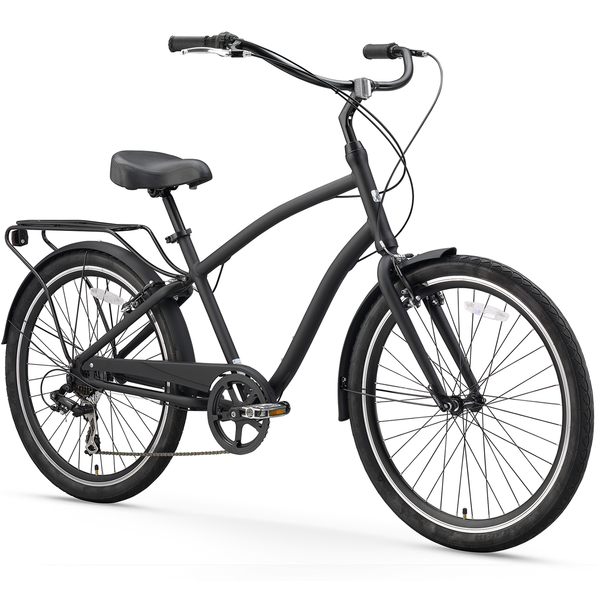 "26"" sixthreezero Men's EVRYjourney Seven Speed Sport Hybrid Cruiser Bicycle, Matte Black"
