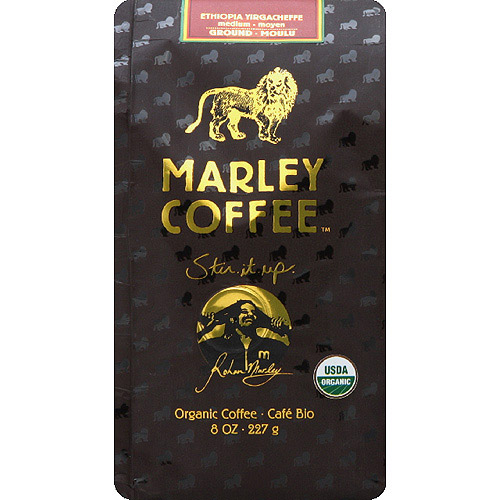 Marley Coffee One Love Ethiopia Yirgacheffe Organic Ground Coffee, 8 oz, (Pack of 8)