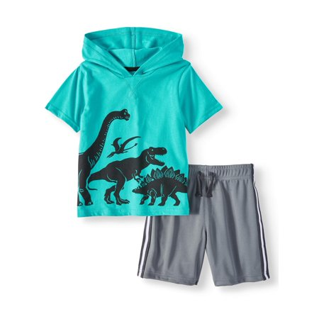 Garanimals Graphic French Terry Hoodie & Mesh Athletic Shorts, 2pc Outfit Set (Toddler (Toddler Athletic Apparel)