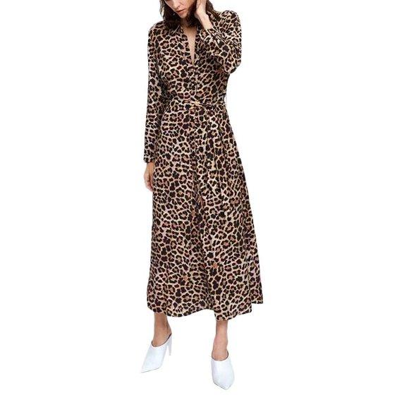 VSNOW - Women Sexy V-Neck Full Sleeve Dress Leopard Long Shirt Dress ... bfef338fb