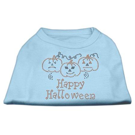 Happy Halloween L (Happy Halloween Rhinestone Shirts Baby Blue L)