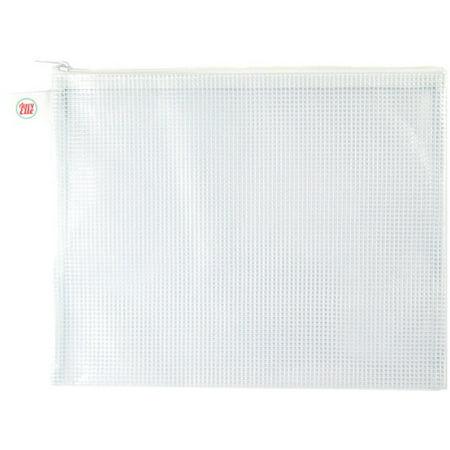 Avery Elle Zippered Vinyl Mesh Pouch-White-Large - image 1 de 1