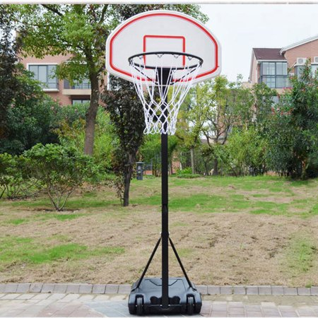 Zimtown 5.4'-6.7' Height Adjustable Basketball Hoops, Movable / Portable Basketball Goals System with Net, Rim, Backboard, for Teen Outside Backyard