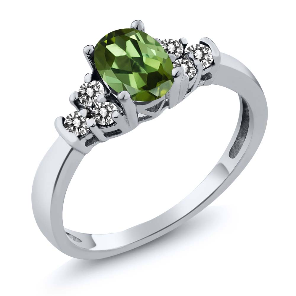 0.76 Ct Oval Green Tourmaline White Diamond 14K White Gold Ring by