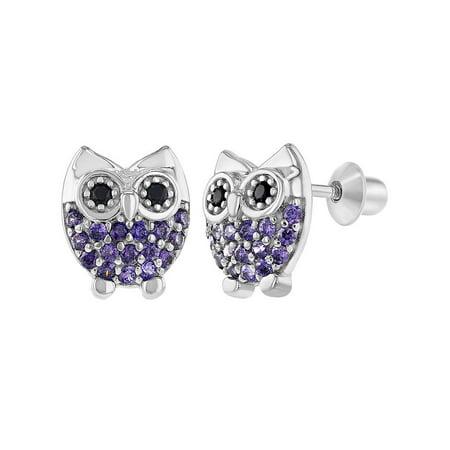 925 Sterling Silver Owl Earrings Screw Back Girls Teens Purple CZ -