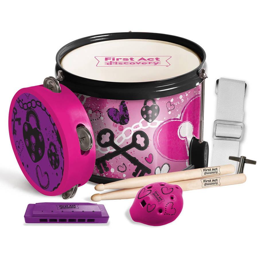 Love Rocks Fun In A Drum - Drum, Drum Sticks, Harmonica, Tambourine, Pink, Love, Rocks, Marching Drum