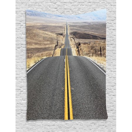 Landscape Tapestry, Pacific Coast Highway on the Road Trip to Endless Desert Western Photograph Wilderness, Wall Hanging for Bedroom Living Room Dorm Decor, Grey, by Ambesonne
