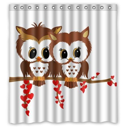 GreenDecor Owl Waterproof Shower Curtain Set with Hooks Bathroom Accessories Size 66x72 inches ()