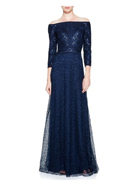 6845fbd7df3c5 Product Image Tadashi Shoji Silana Off Shoulder 3 4 Sleeve Lace Evening  Gown Dress