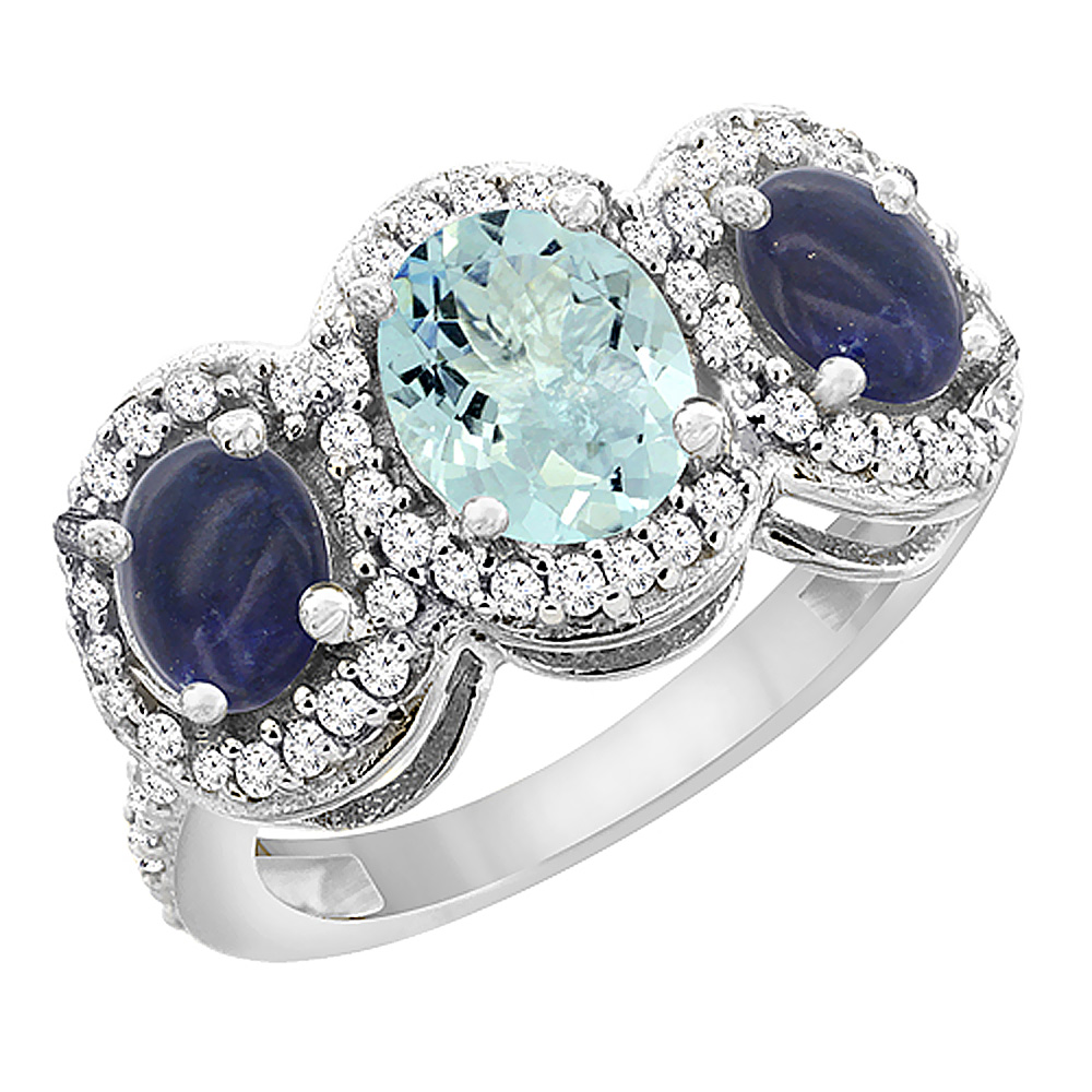 14K White Gold Natural Aquamarine & Lapis 3-Stone Ring Oval Diamond Accent, size 5.5 by Gabriella Gold