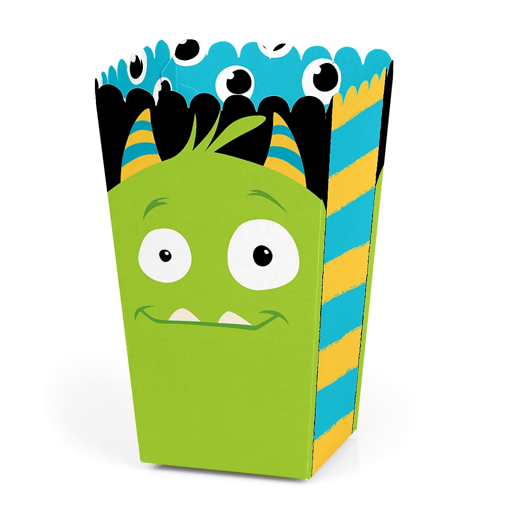 Monster Bash - Little Monster Birthday Party or Baby Shower Favor Popcorn Treat Boxes - Set of 12
