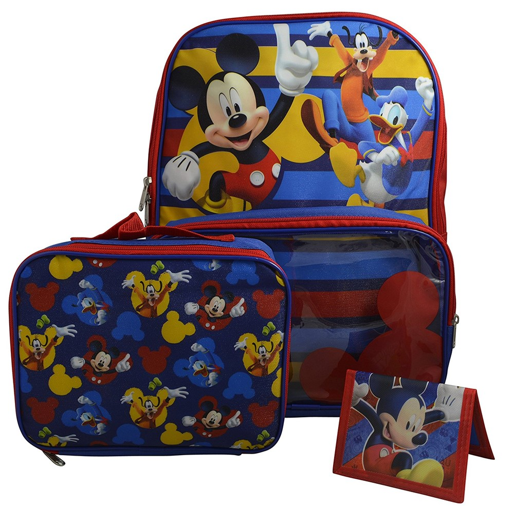 "Disney Mickey Mouse Boys' 16"" Backpack with Window Pocket Detachable Lunch Box & Bonus Wallet by"