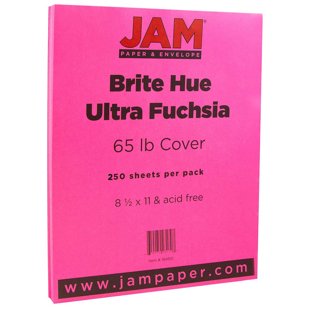 JAM Paper Bright Colored Cardstock, 8.5 x 11, 65 lb Brite Hue Ultra Fuchsia Pink, 250 Sheets/Pack